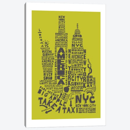 New York City, Lime & Gray Canvas Print #AAA60} by Citography Canvas Print