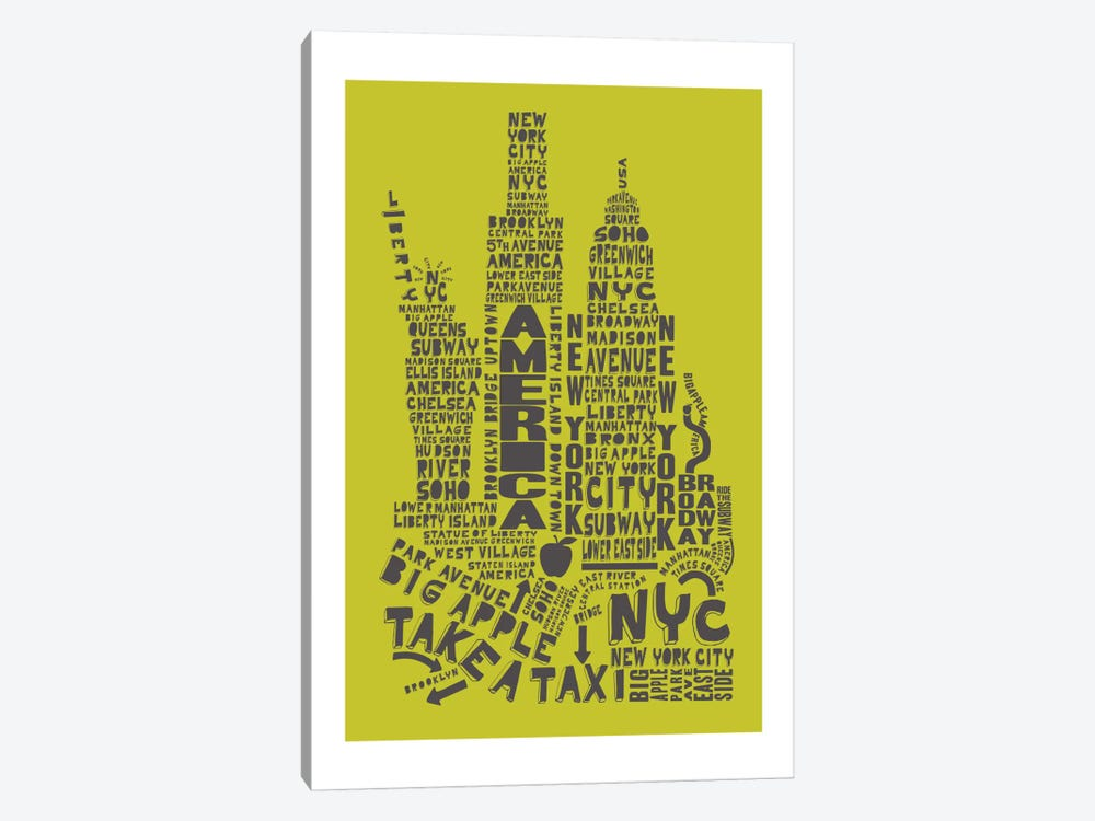New York City, Lime & Gray by Citography 1-piece Canvas Art Print
