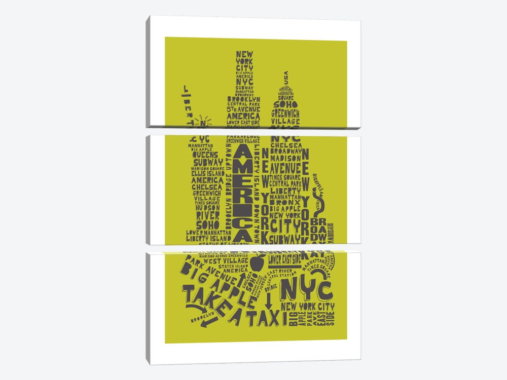 New York City, Lime & Gray by Citography 3-piece Canvas Print