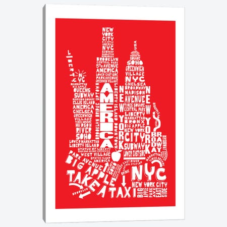New York City, Red Canvas Print #AAA61} by Citography Canvas Art Print