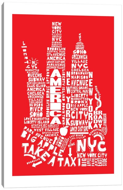 New York City, Red Canvas Art Print