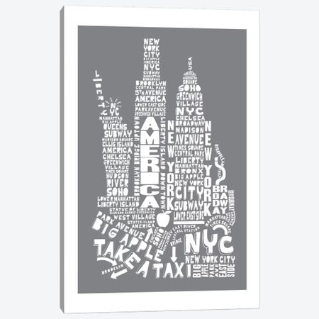 New York City, Slate Canvas Print #AAA62} by Citography Canvas Art Print