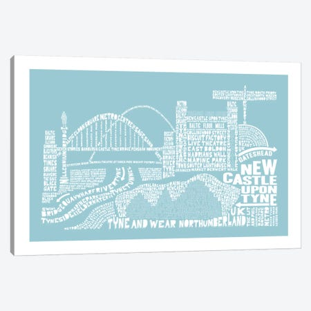 Newcastle Upon Tyne, Aqua Canvas Print #AAA63} by Citography Canvas Art Print