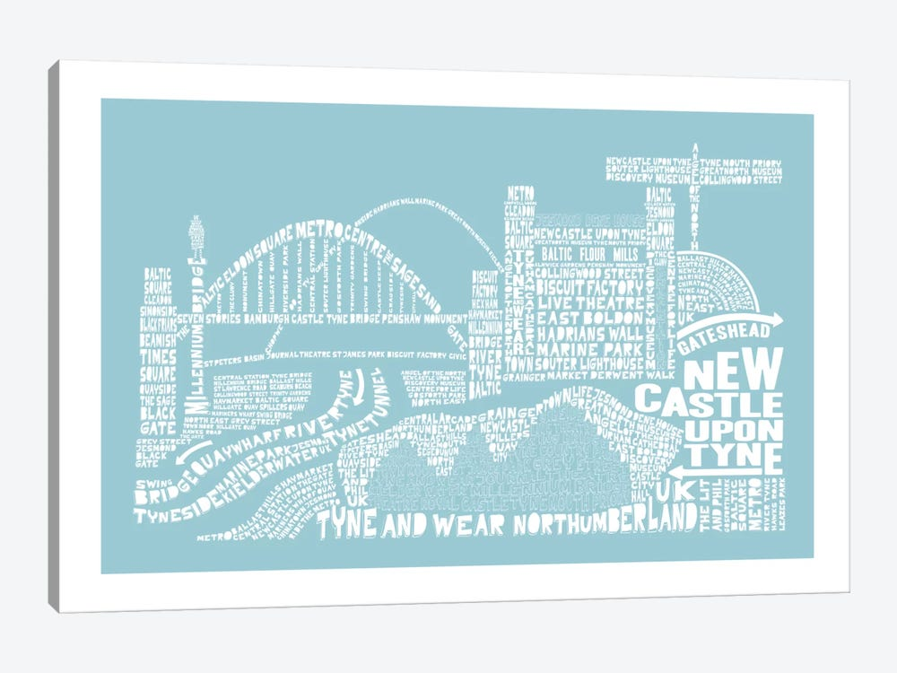 Newcastle Upon Tyne, Aqua by Citography 1-piece Canvas Art