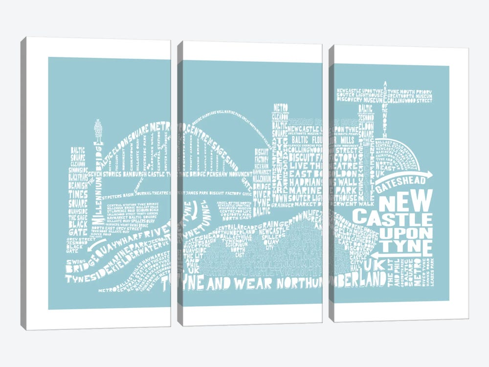 Newcastle Upon Tyne, Aqua by Citography 3-piece Canvas Art