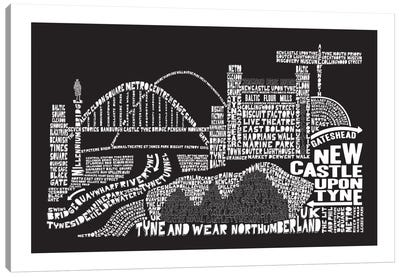 Newcastle Upon Tyne, Black Canvas Art Print