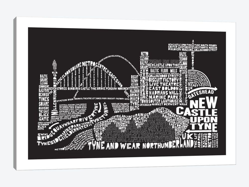 Newcastle Upon Tyne, Black by Citography 1-piece Art Print