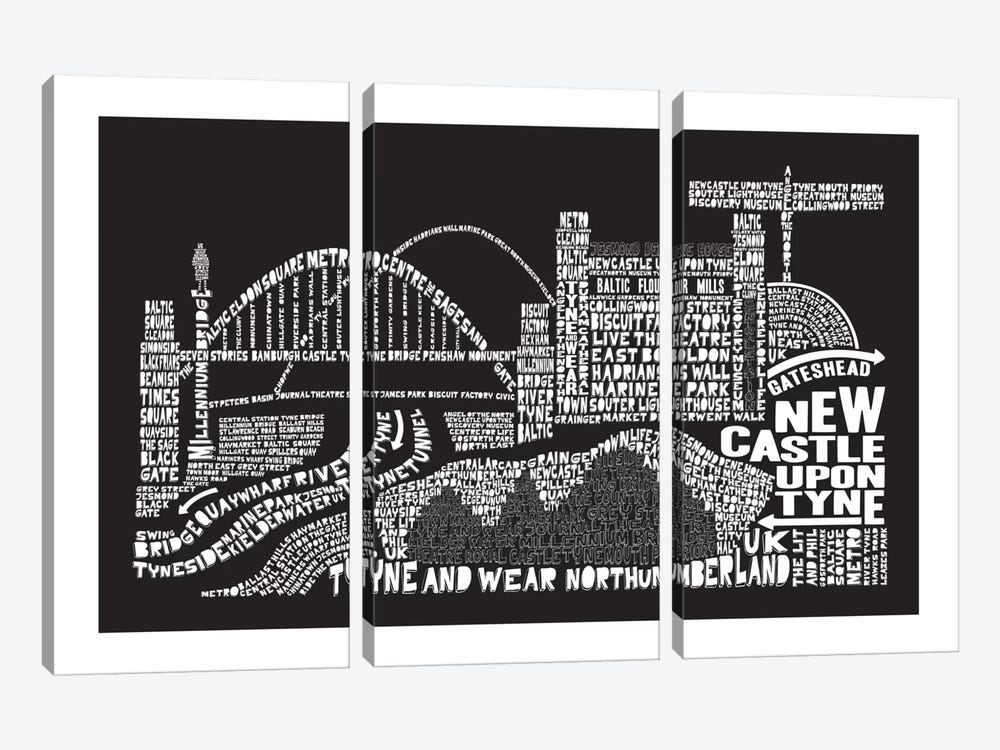 Newcastle Upon Tyne, Black by Citography 3-piece Canvas Art Print