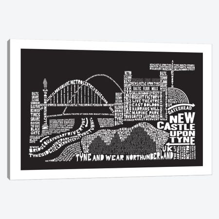 Newcastle Upon Tyne, Black Canvas Print #AAA64} by Citography Canvas Artwork