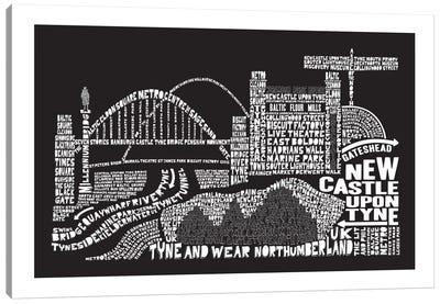 Newcastle Upon Tyne, Black Canvas Art Print