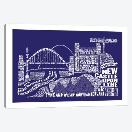 Newcastle Upon Tyne, Navy Canvas Print #AAA65} by Citography Canvas Wall Art