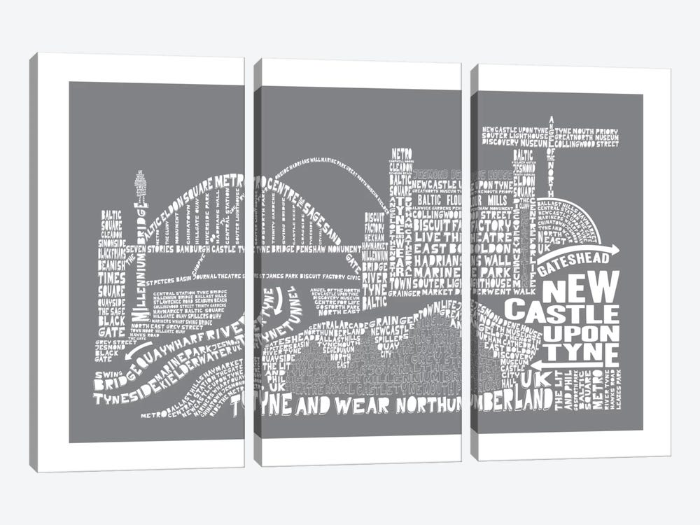 Newcastle Upon Tyne, Slate by Citography 3-piece Canvas Art Print