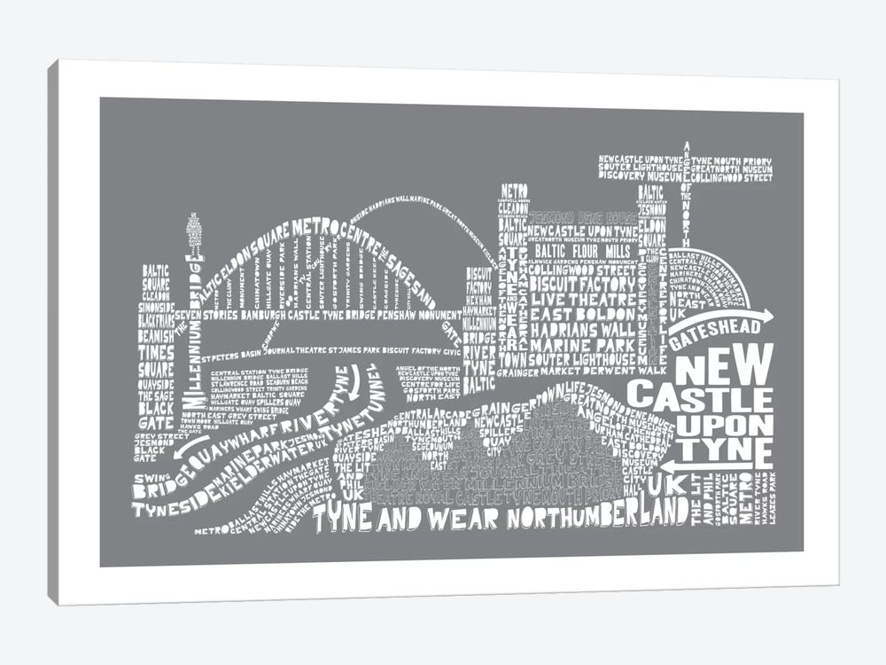 Newcastle Upon Tyne, Slate by Citography 1-piece Canvas Print
