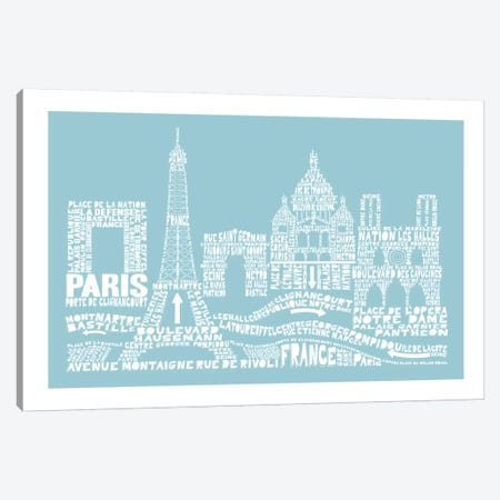 Paris, Aqua Canvas Print #AAA67} by Citography Canvas Artwork