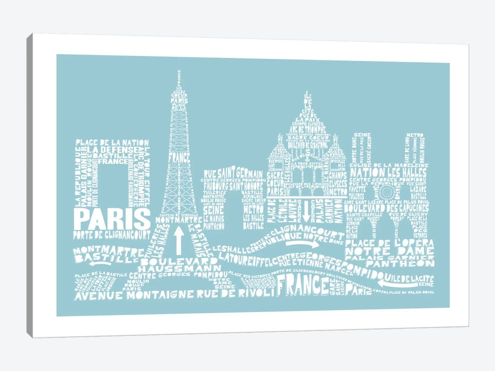 Paris, Aqua by Citography 1-piece Canvas Art
