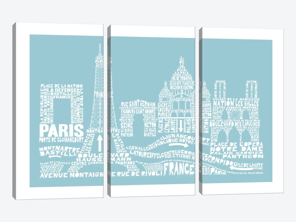 Paris, Aqua by Citography 3-piece Canvas Artwork
