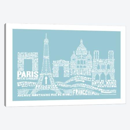 Paris, Aqua Canvas Print #AAA67} by Citography Canvas Artwork