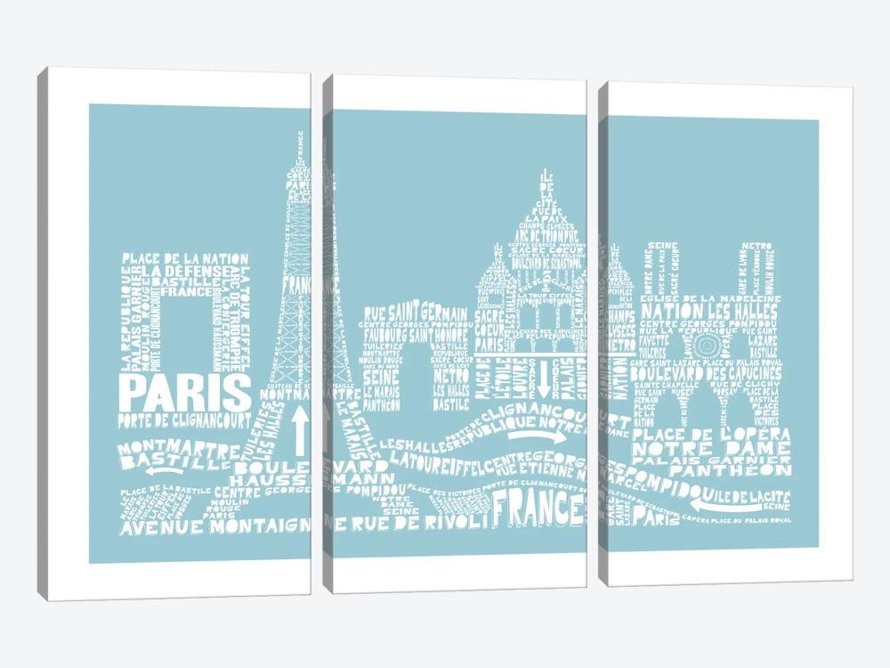 Paris, Aqua by Citography 3-piece Canvas Artwork