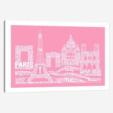 Paris, Pink Canvas Print #AAA68} by Citography Art Print