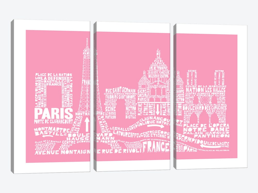 Paris, Pink by Citography 3-piece Canvas Art Print
