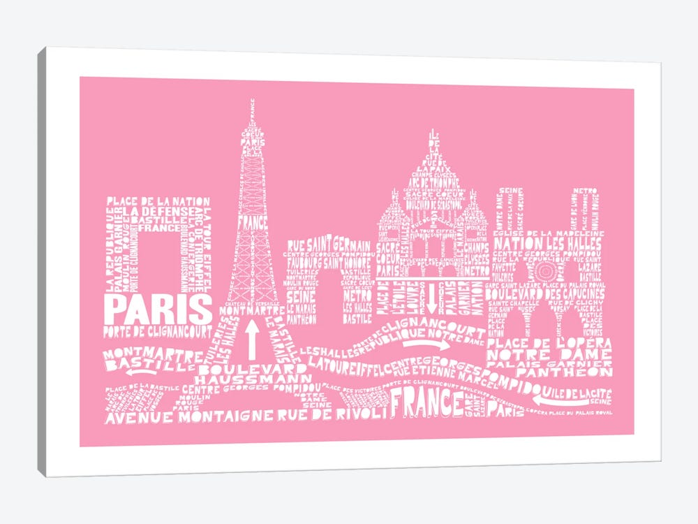 Paris, Pink by Citography 1-piece Canvas Print