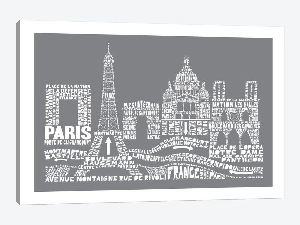 Paris, Slate by Citography 1-piece Canvas Artwork