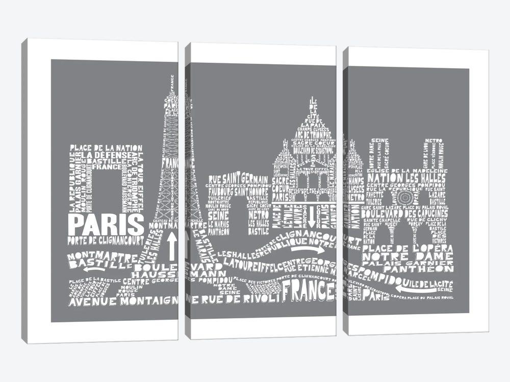 Paris, Slate by Citography 3-piece Canvas Art