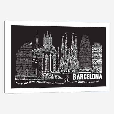 Barcelona, Black Canvas Print #AAA6} by Citography Canvas Art Print