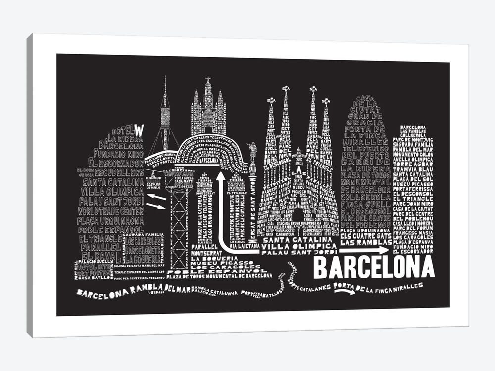 Barcelona, Black by Citography 1-piece Canvas Art Print