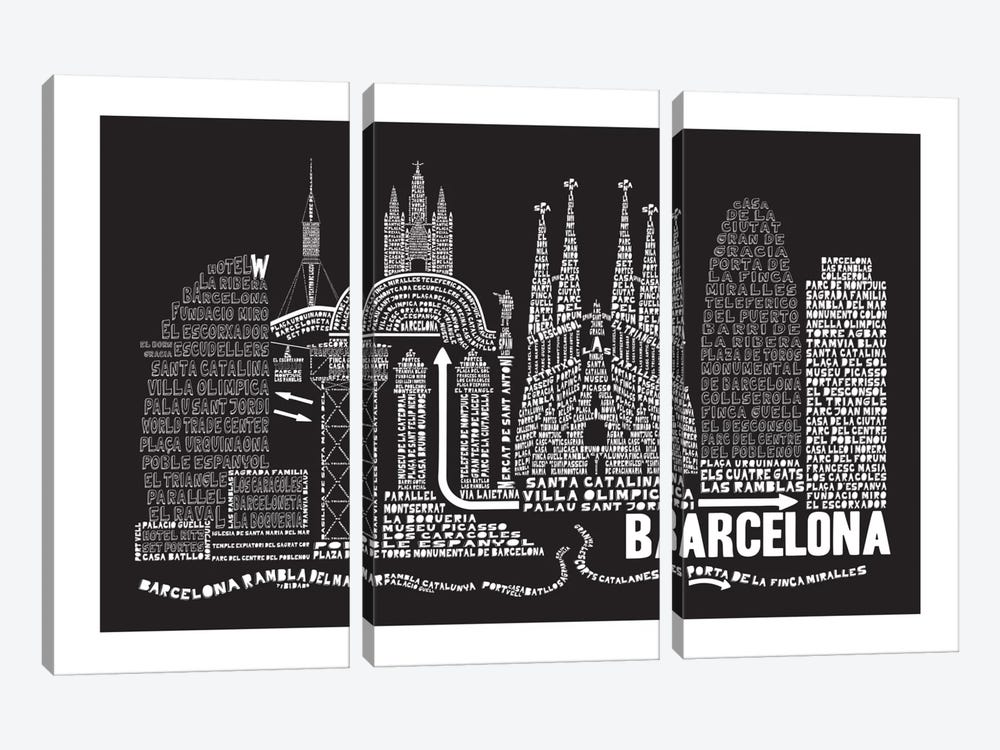 Barcelona, Black by Citography 3-piece Canvas Art Print