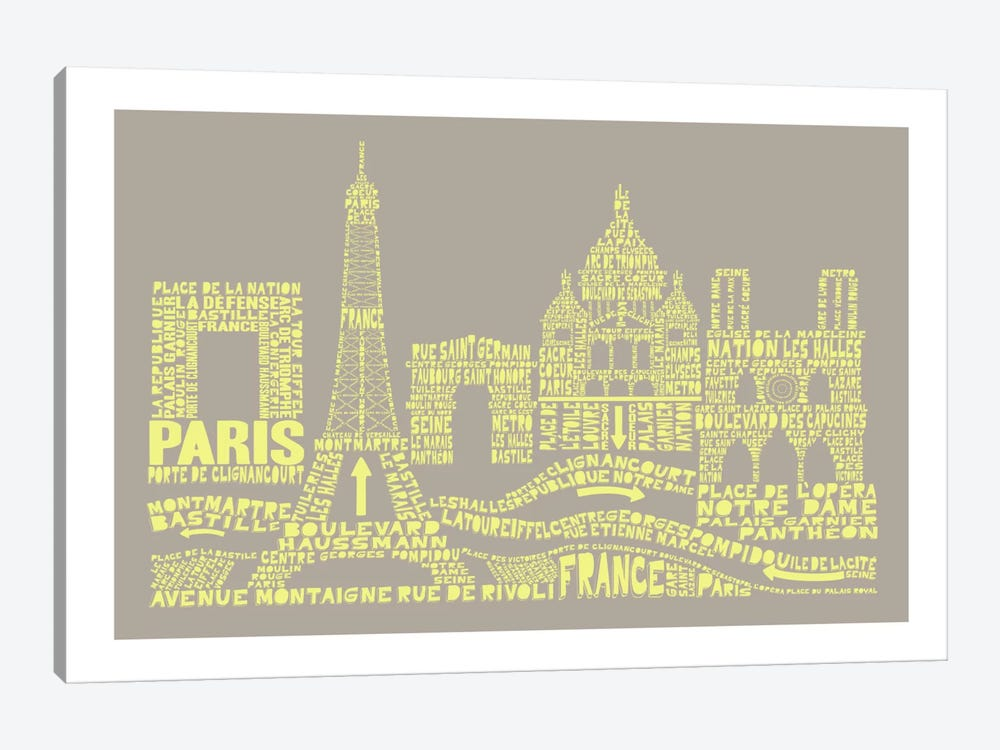 Paris, Stone & Faded Neon by Citography 1-piece Canvas Artwork