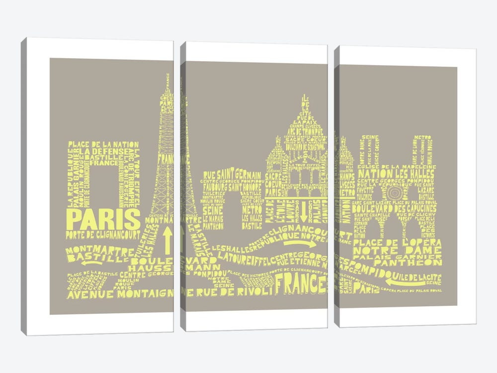 Paris, Stone & Faded Neon by Citography 3-piece Canvas Art