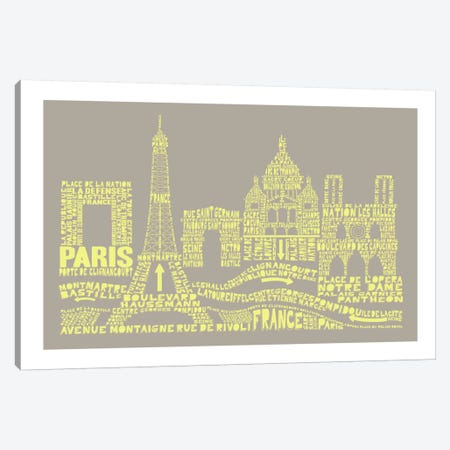 Paris, Stone & Faded Neon Canvas Print #AAA70} by Citography Canvas Art
