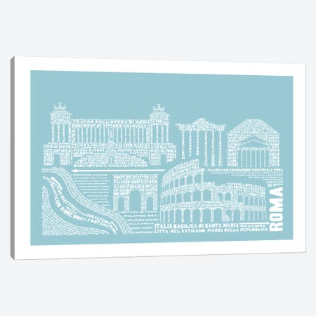 Rome, Aqua Canvas Print #AAA71} by Citography Canvas Artwork