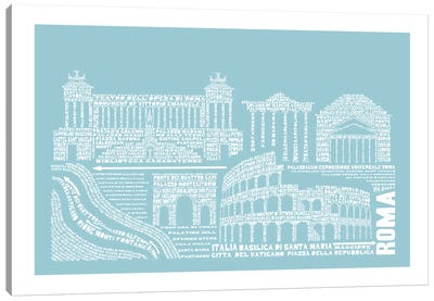 Rome, Aqua Canvas Art Print