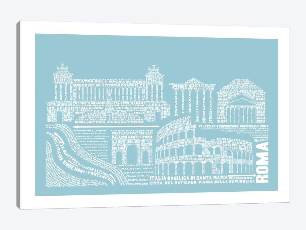 Rome, Aqua by Citography 1-piece Canvas Art Print