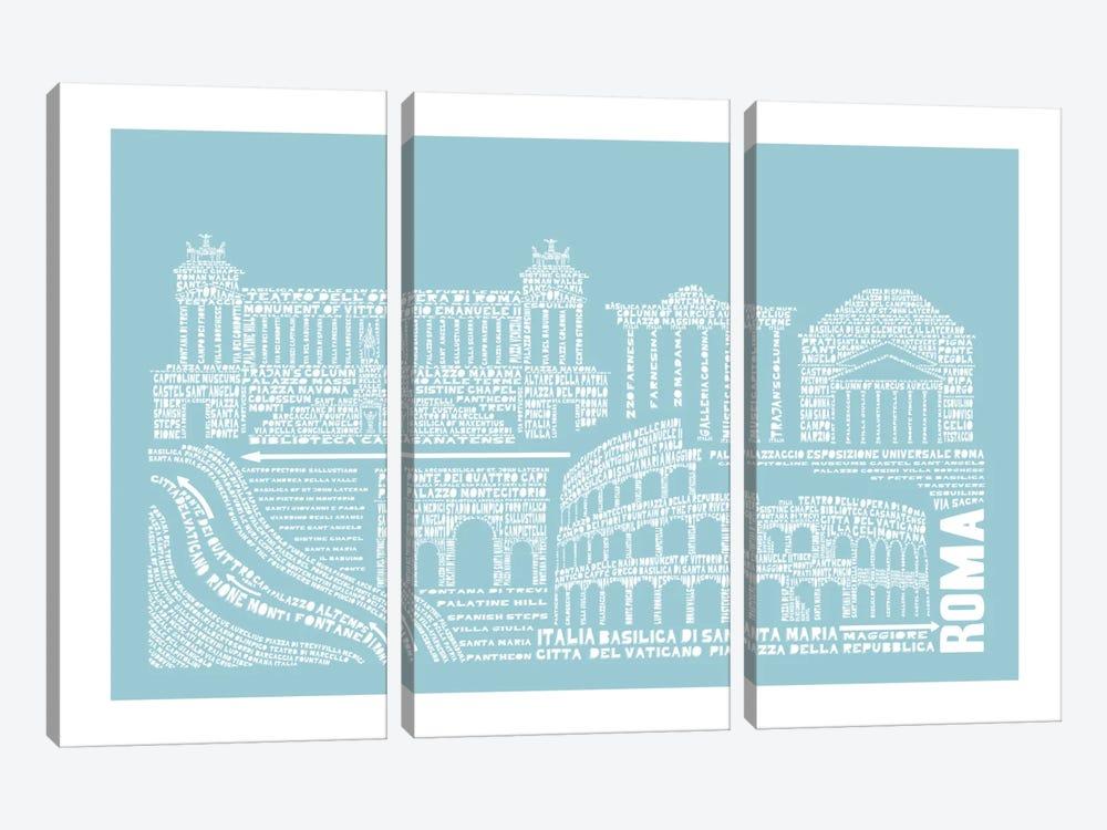 Rome, Aqua by Citography 3-piece Canvas Art Print
