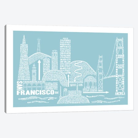 San Francisco, Aqua Canvas Print #AAA72} by Citography Canvas Wall Art