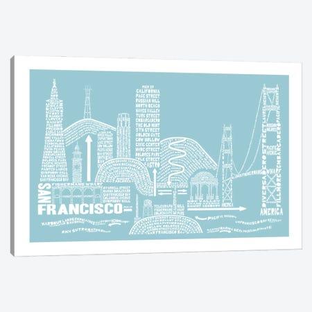 San Francisco, Aqua Canvas Print #AAA72} by Citography Canvas Wall Art
