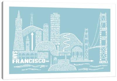 San Francisco, Aqua Canvas Art Print