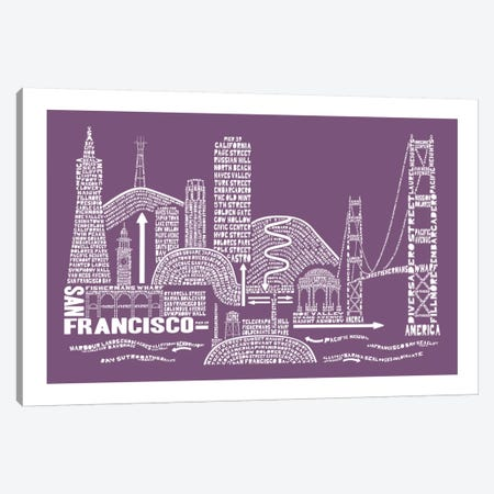 San Francisco, Frosted Berry Canvas Print #AAA73} by Citography Canvas Wall Art