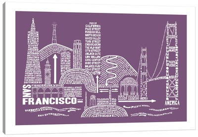 San Francisco, Frosted Berry Canvas Art Print