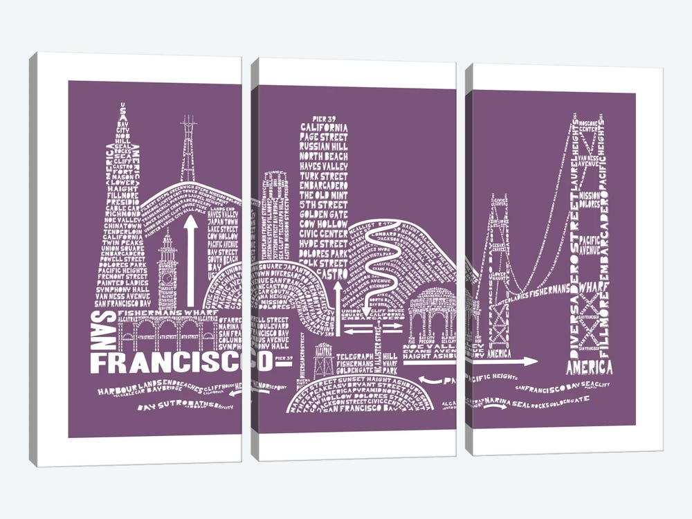San Francisco, Frosted Berry by Citography 3-piece Art Print
