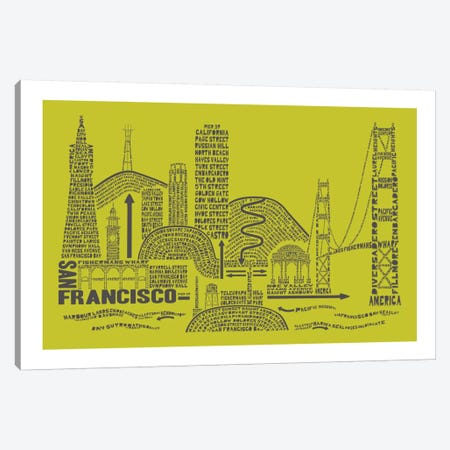 San Francisco, Lime & Gray Canvas Print #AAA74} by Citography Canvas Art Print