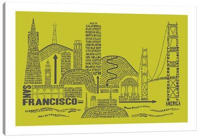 San Francisco, Lime & Gray Canvas Art Print