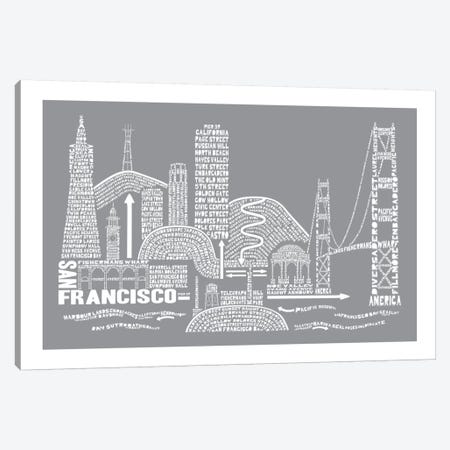 San Francisco, Slate Canvas Print #AAA75} by Citography Canvas Print