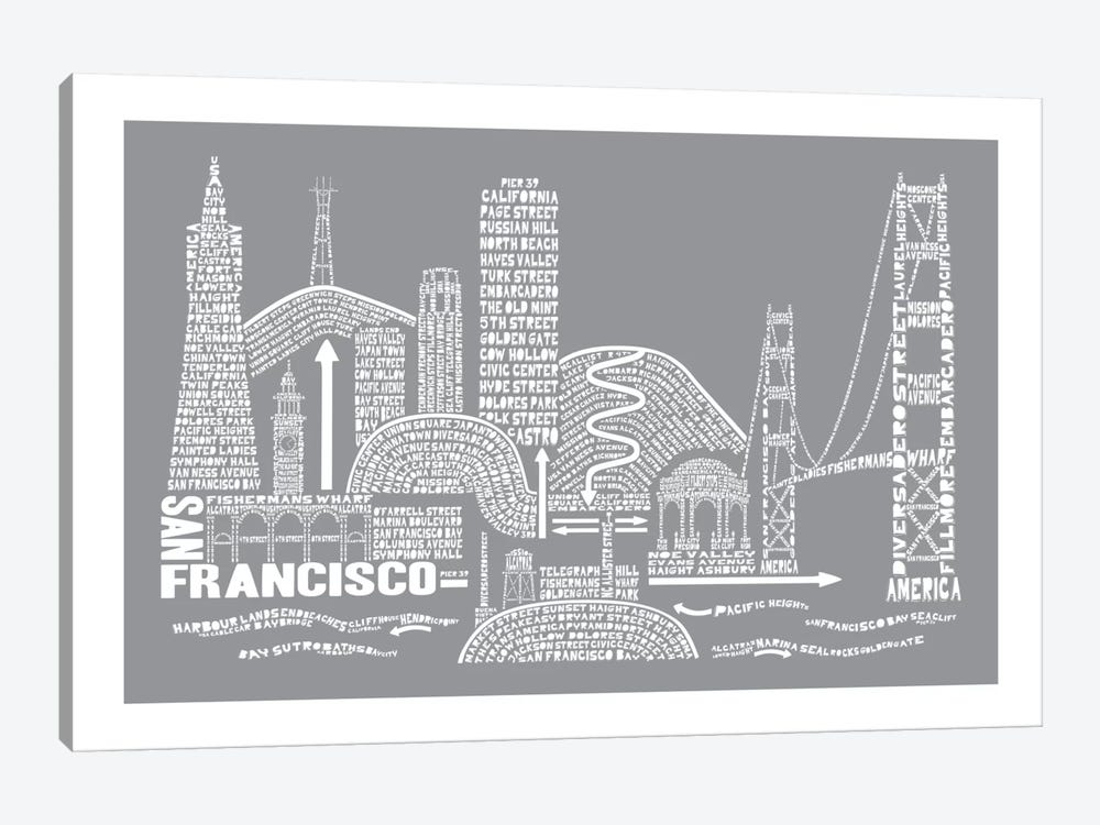 San Francisco, Slate by Citography 1-piece Canvas Art Print