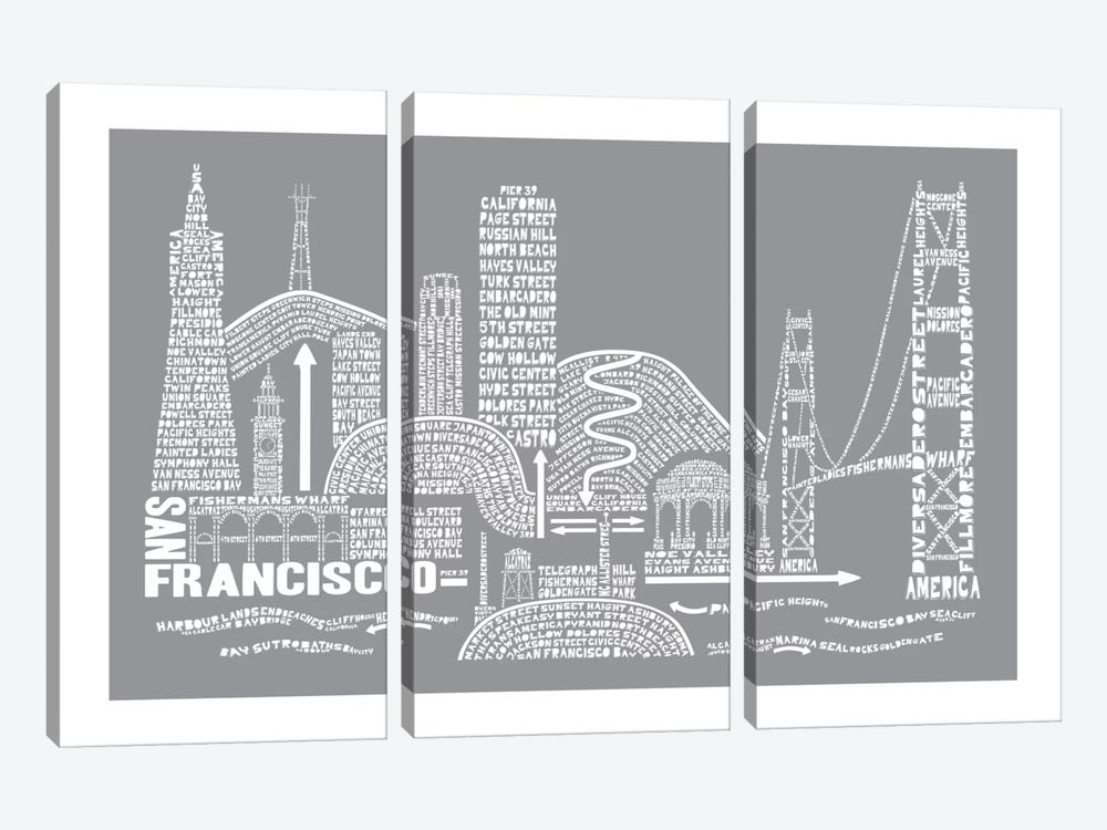 San Francisco, Slate by Citography 3-piece Canvas Art Print