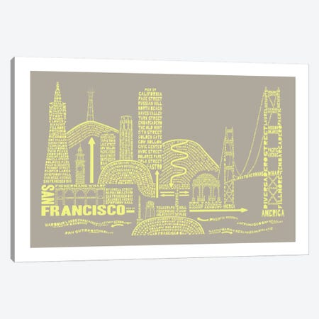 San Francisco, Stone & Faded Neon Canvas Print #AAA76} by Citography Art Print
