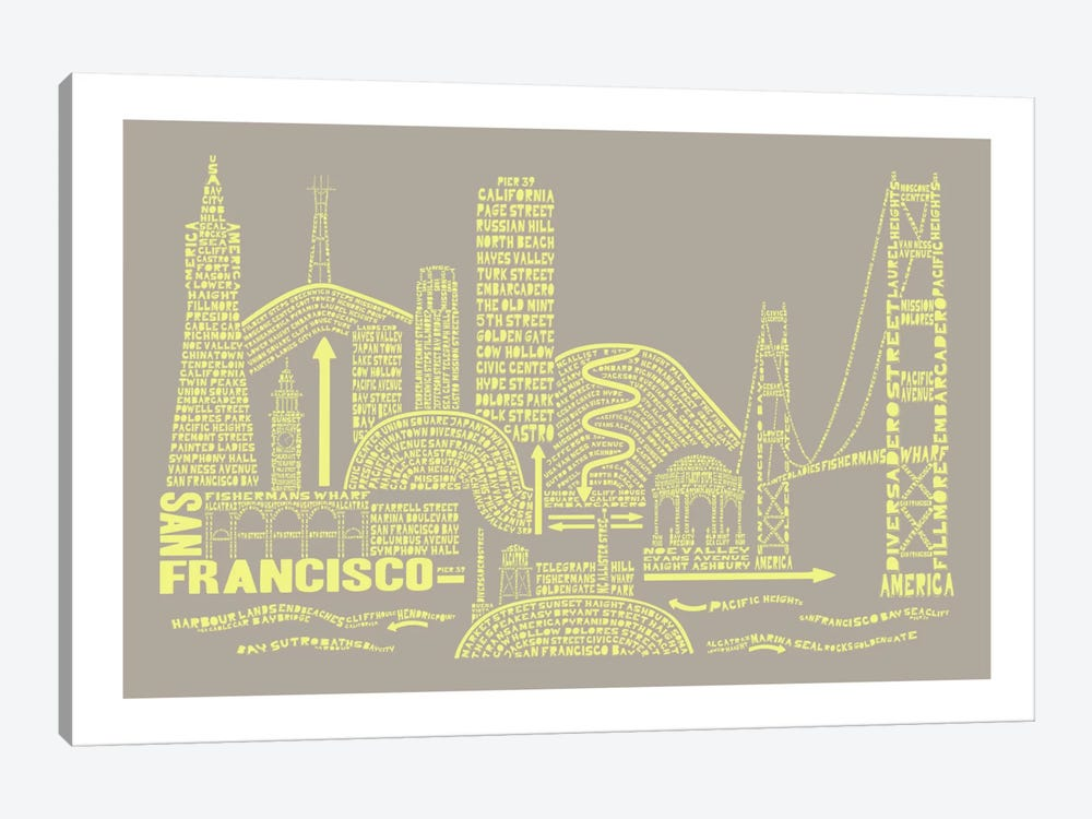 San Francisco, Stone & Faded Neon by Citography 1-piece Canvas Art